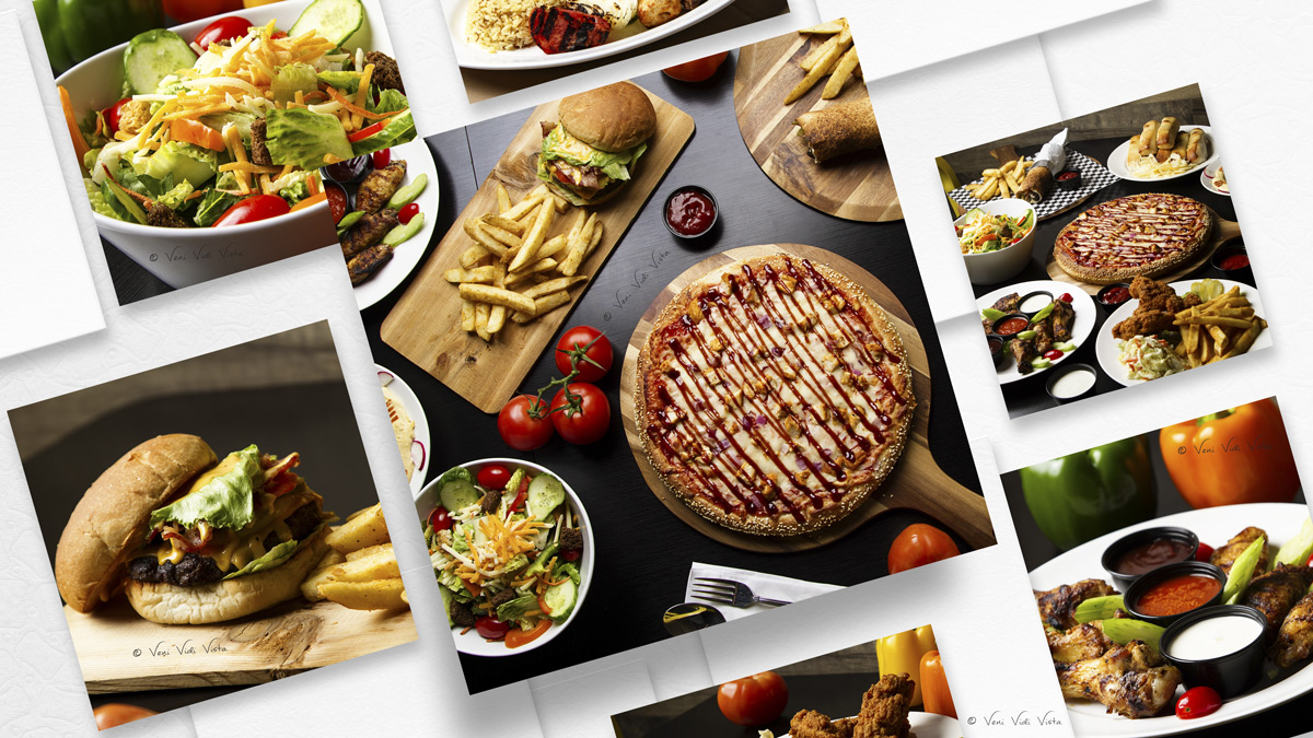 Pizza, Burger & Salad Food Photography