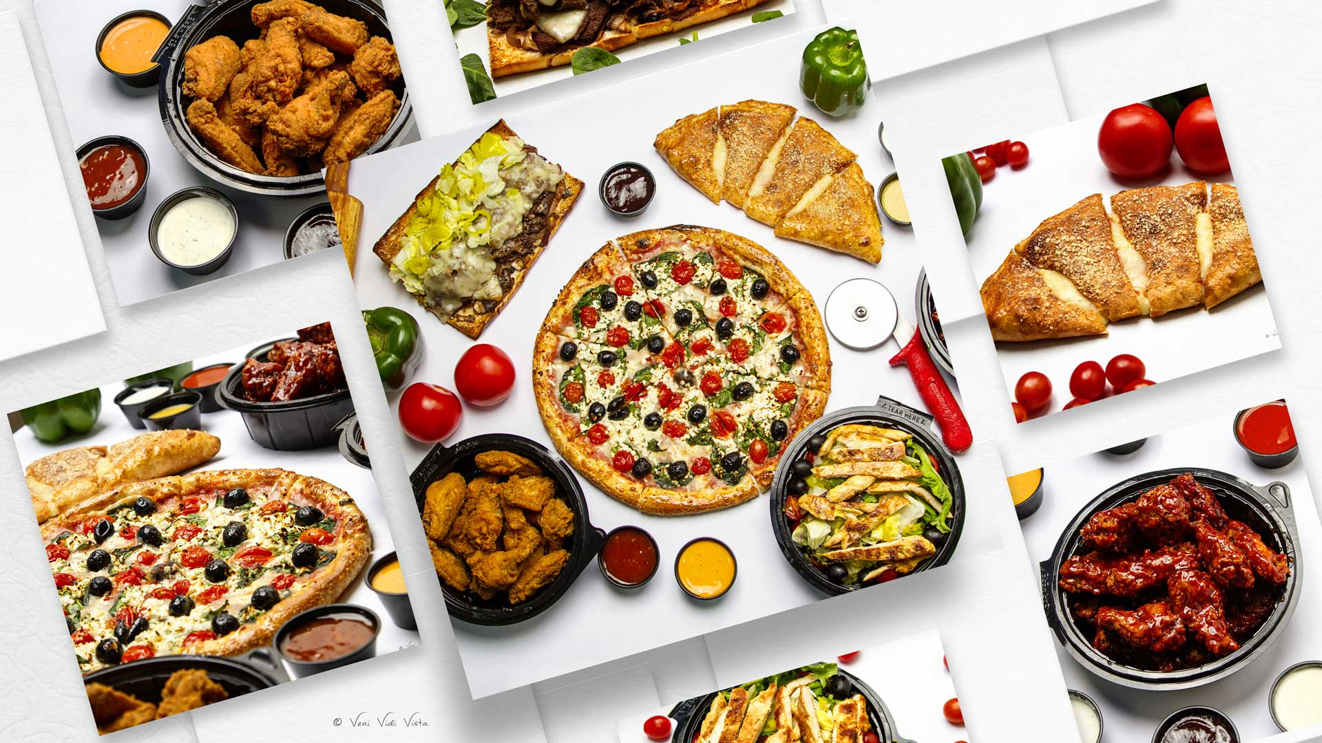 Pizza, Chicken Wings and Sub Food Photography